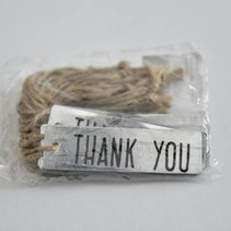 "Metal label ""THANK YOU"" 7x2cm 20pc Natural"