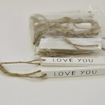 "Wooden sign ""Love You"" 1x0.5x8.5cm 20pc White"