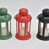 Kunststof lantaarntje met led kaars mix