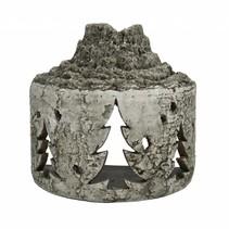 Sfeerlicht aardewerk boomstam met kerstboom 26x15x25cm greywash