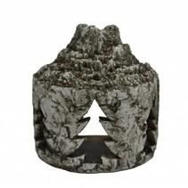 Sfeerlicht aardewerk boomstam met kerstboom 16,5x10,5x18cm greywash