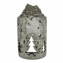 Sfeerlicht aardewerk boomstam met kerstboom 24x15,5x45cm greywash