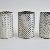Waxineglas cilinder 3 assortie 10x10x15cm WHITE SILVER