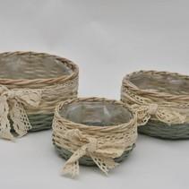 Set van 3 rieten mand met lint wit/mintgroen D25/21/17 H12