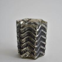Waxineglas ster middel 8x8x8cm BLACK SILVER