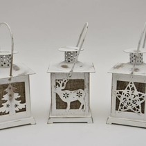 Lantern 17x8x8cm with deer white