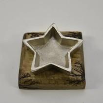 Waxinehouder ster nikkel op mangohouten blok 10x10x5cm