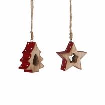 Ornament ster boom rood 2 assorti - l6,5xb2,5xh7,5cm
