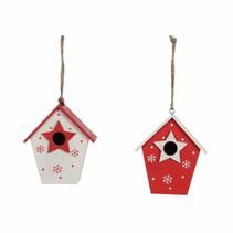 Ornament vogelkooi wit rood 2 assorti - l7,5xb5xh8,5cm