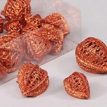 PET 18 glitter physalis loose tangerine 3.5x4x5 cm