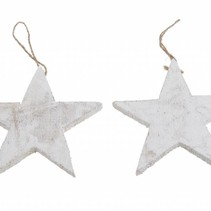 Wooden star 15cm rope 10pc White-wash