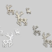 cb. 15 wooden deers/loose 3ass natural/grey/white 3/5/7cm