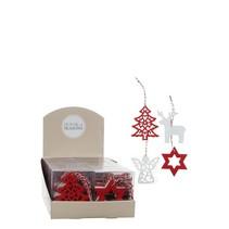 Ornament kerstfiguren rood wit 4 assorti  - d9cm