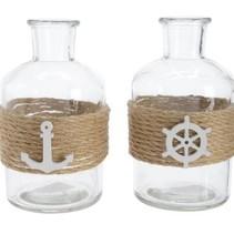 gl bottle w macrame w rope 2 assorted clear dia6.5x12cm