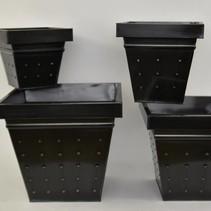 Set 4 zinkpotten vierkant zwart ReBu