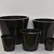Set 5 zinkpotten rond zwart ReBu