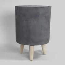 pc. 1 round clay-fiber pot w/legs black Ø31.5x44cm