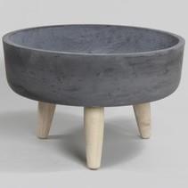 pc. 1 round clay-fiber pot w/legs black Ø37x22.5cm