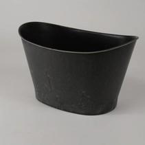 Ovale pot Kansas groot grijs 31,5x20,6x19cm