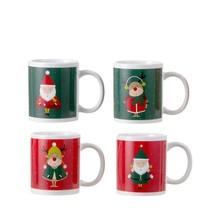 Mok kerst rood groen 4 assorti - h9,5xd8cm