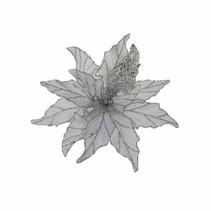 Clip poinsettia zilver glitter - d30cm