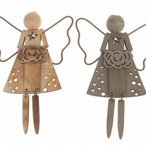 Wooden angel hanger 8.5x7.5cm 1pc Mixed