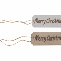 """Wooden label """"Merry Christmas"""" 9.5x3x0.3cm 10pc Mixed"""