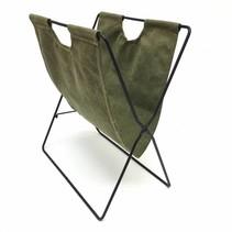 Tijdschriftenrek groen textiel 40x35x23cm