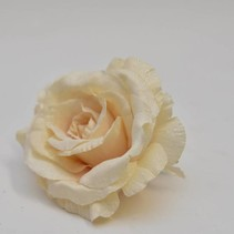 Iced rose head w/clip Reims 14cm Champagne