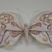 poly vlinder o/c glitter roze 20x15cm