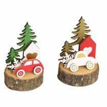 Wooden car on wood slice 6.5x6.5x11cm 1pc mixed Multi