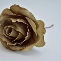 Open rose large l.brown 20cm