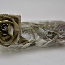 Foam rose 12cm 8pc white taupe ''de luxe''