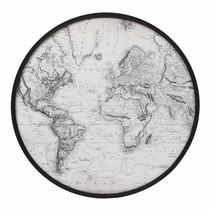 Wanddecoratie MDF rond 'Wereldkaart' dia70x3cm
