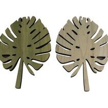 Paulownia wood leaf Green 27x40x1.5cm 1pc Mixed