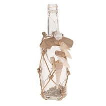 Recycled glass bottle with rope net Natural 8x8x29cm
