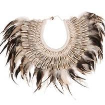 Deco necklace feathers / shells  27x20x3.5cm Natural