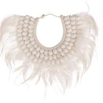 Deco necklace feathers / shells  25x20x2.5cm Natural