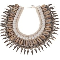 Shell deco necklace 36x30x2.5cm Natural