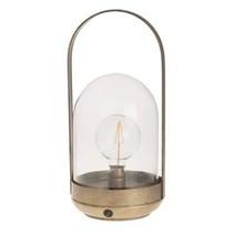 Lantern light metal / glass  16.5x15.5x35.5cm Antique gold