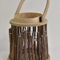 Lantaarn hout/takken met hengsel naturel D22 H24/30cm
