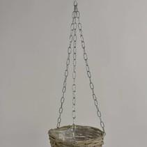 Hanging basket riet Grey wash D20 H12,5cm
