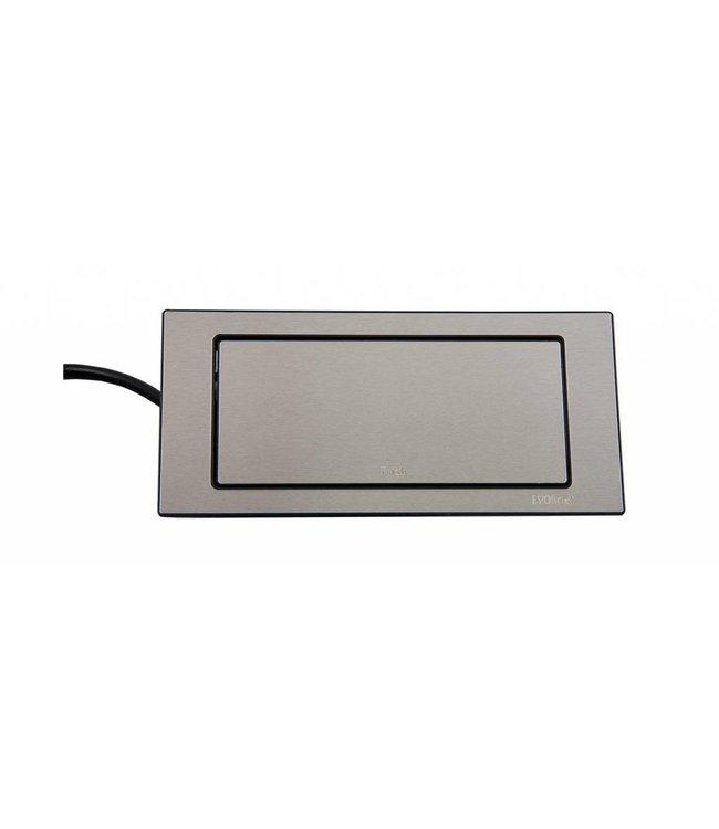 Evoline BackFlip RVS (2x230V)(1x USB)