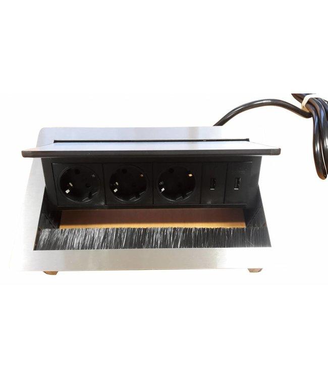 Evoline Fliptop RVS Push (3x230V) (2x USB lader)