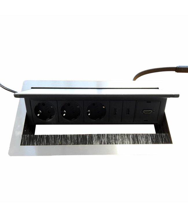 Evoline Fliptop RVS Push (3x 230V 2x USB Charger + 1xHDMI)