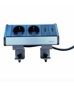 Evoline Dock Data Small 2x230V / 2x USB lader - met 2 klemmen
