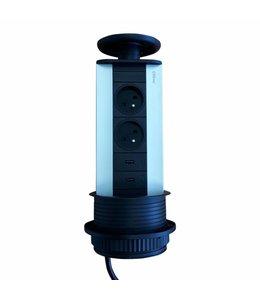 Evoline Port Zwarte Uitvoering (2x230V)( 2x USB)