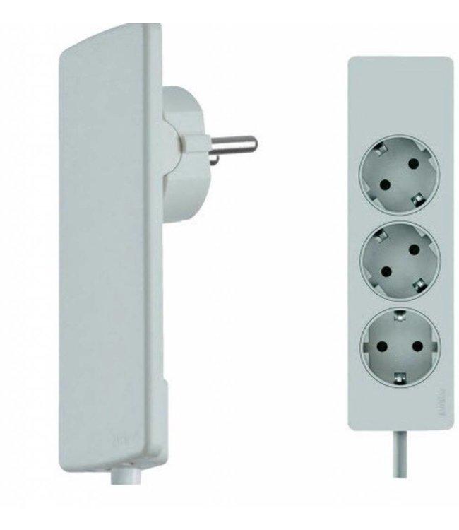 Evoline Plug platte stekker met stekkerdoos - Wit
