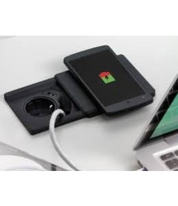 Evoline Square 80 Zwart met Qi charger (1x230V) (1x USB Charger)(1x RJ45)