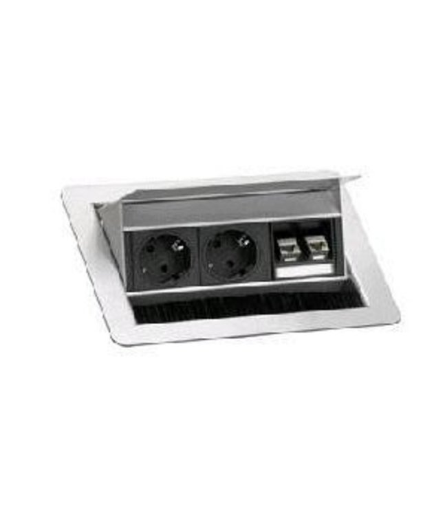 Evoline Fliptop RVS Push S 2x230V / 2xRJ45